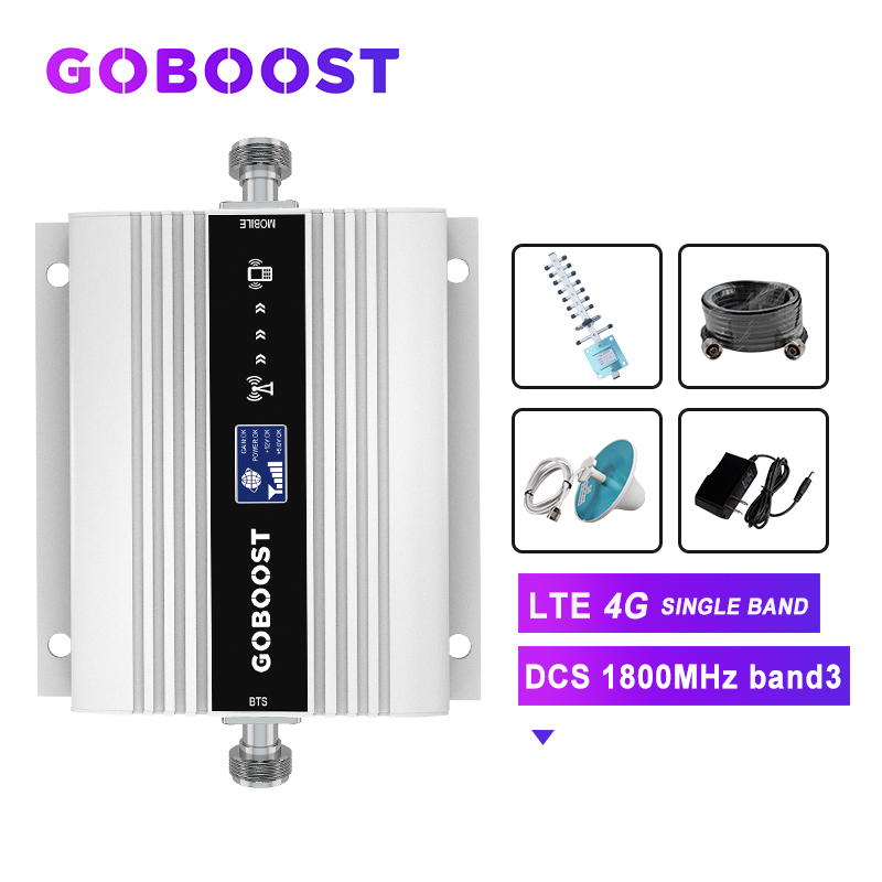 GSM Amplifier LTE 4G 1800 Cellular Signal Booster Signal For Mobile Phones 4G Repeater DCS Band3 LCD Dispaly Yagi Antenna Kit -