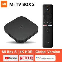 Original xiaomi mi caixa de tv s 4k android 8.1 hdr 2g 8g wifi bt4.2 google elenco netflix caixa de tv inteligente media player versão global