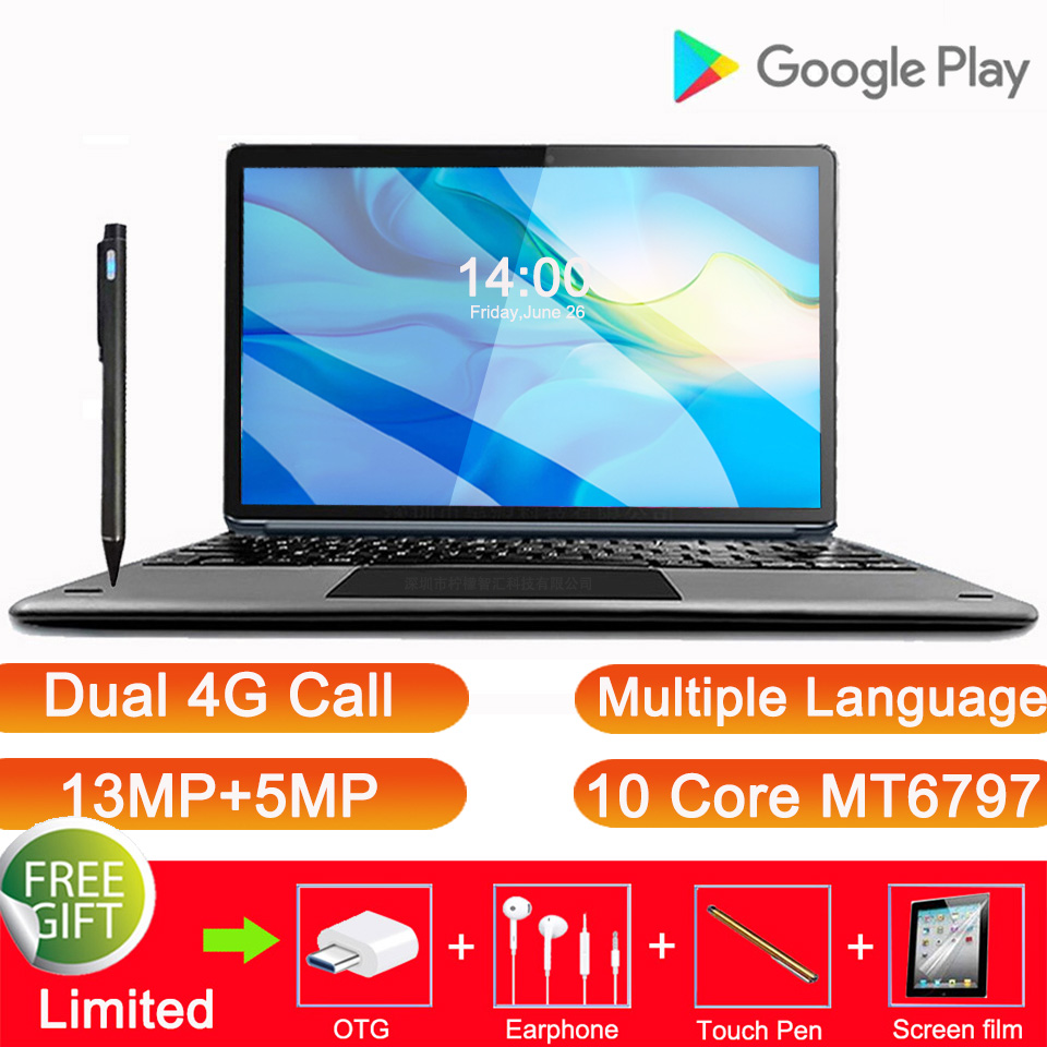 2020 Global version 2 in 1 Tablet PC 4G Call Laptop Tablet 11.6 Inch Android Tablet With Keyboard MT6797 Gaming Tablet GPS