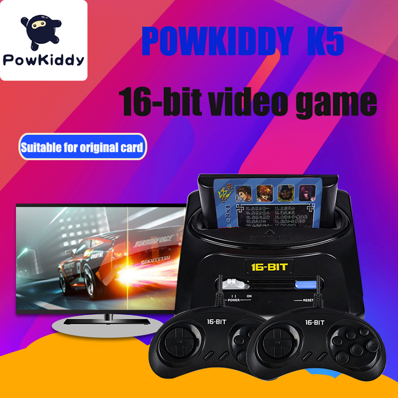 POWKIDDY K5 Retro Mini TV Video Game Console For Sega MegaDrive 16 Bit Games Built-in 30 Games Two Gamepads AV Out Send card