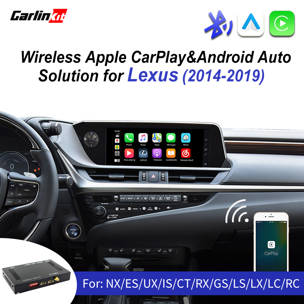 Android Auto Mirror Link AirPlay pour ES IS NX RX GS RC CT LS LC LX 2014-2019 avec Rotary Knob Car Wireless CarPlay Android Auto Interface pour Lexus Original Factory Car Screen