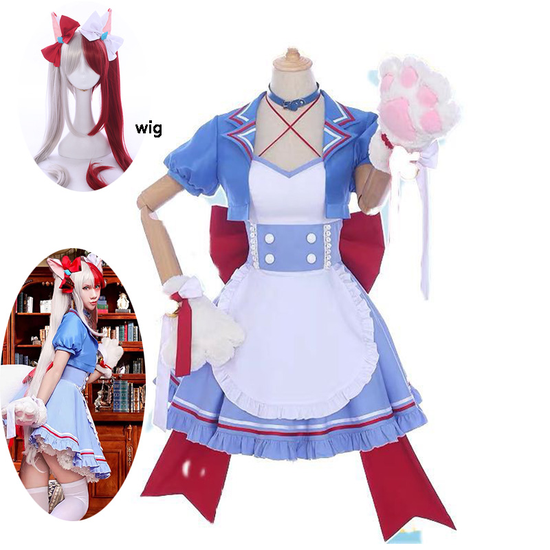 My Hero Academia Coffee Shop Little Hero Todoroki Shoto Cafe Maid Female Cosplay Costume Cat Woman Dress For Hallowee And Wig
