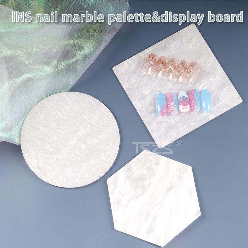 1Pcs/lot Japanese Nail Art Display Board Palette White Anti-marble Pattern Photo Nail Display Tray