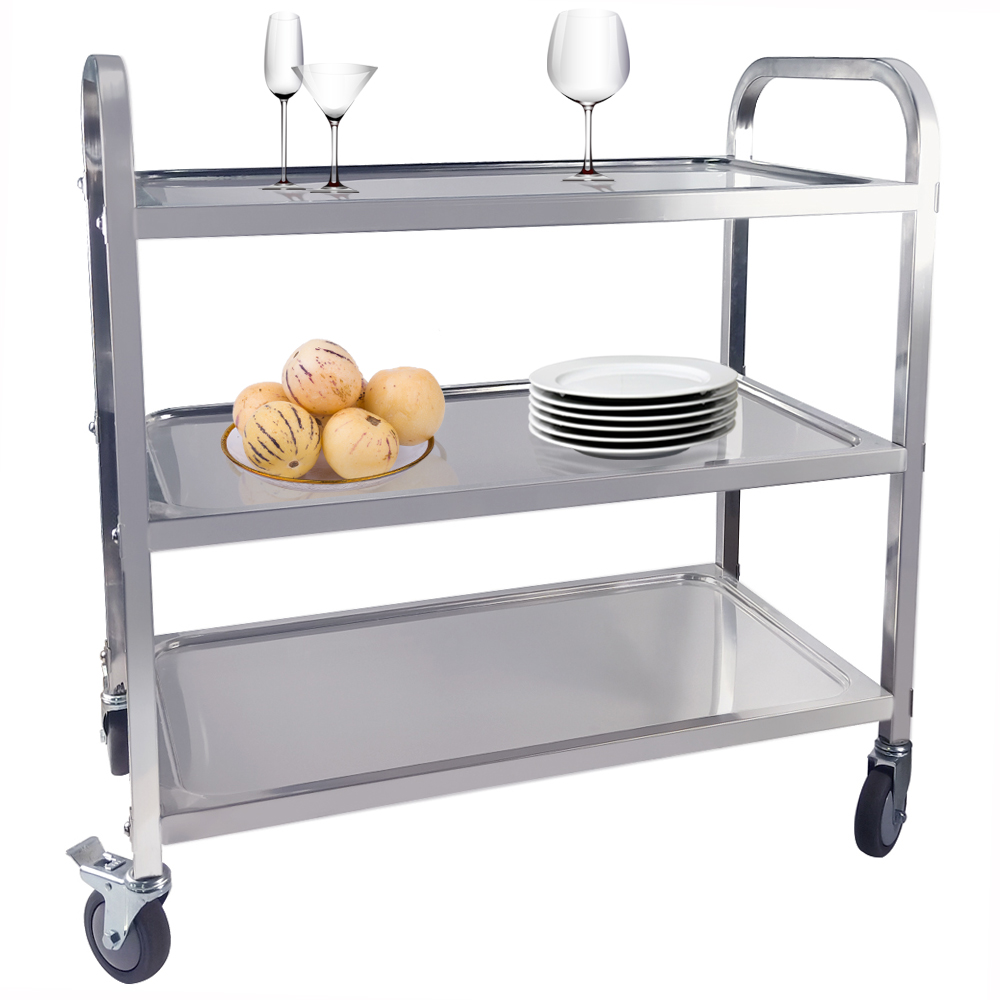 Large 3 Tier Trolley Cart Stainless Steel 4 Wheels Commercial Cart Serving Restaurant Rolling Cart With Brake Load-bearing Sale