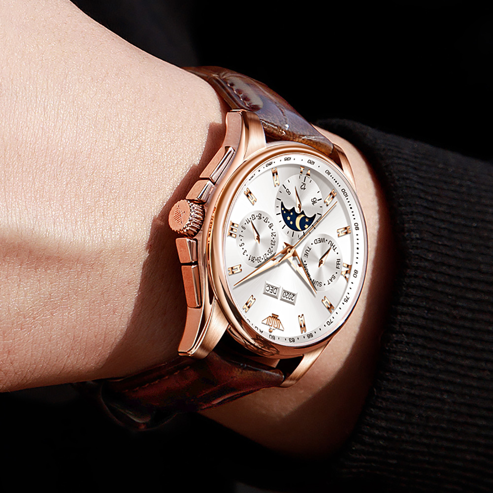 OUPINKE Men Mechanical Watch Luxury Automatic Watch Leather Sapphire Waterproof Sports Moon Phase Wristwatch Montre homme 6