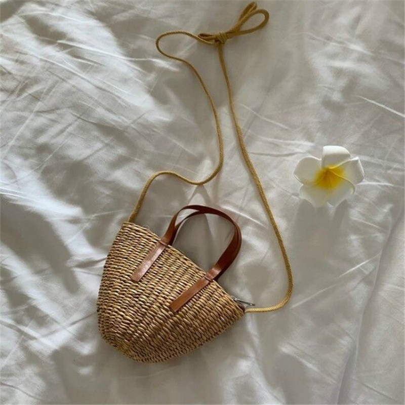 Summer Children Straw Bag Handmade Kid Mini Handbag Girls Rattan Crossbody Bags Clutch Purse Baby Beach Bag