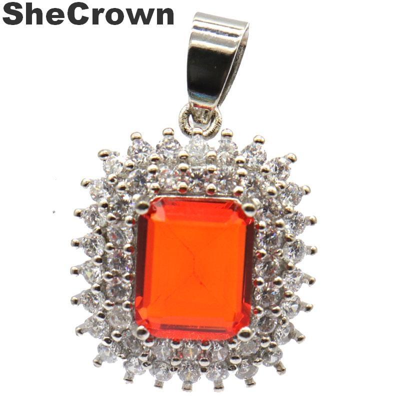 30x20mm  Gorgeous Rectangle Gemstone Orange Spessartine Garnet White CZ Silver Pendant