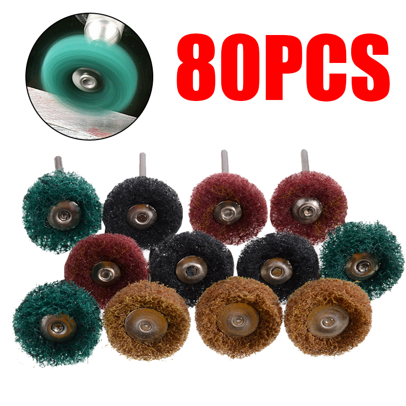 80Pcs Mini Brush Scouring Pad Abrasive Wheel Buffing Polishing Grinding Wheels Rotary Tool 25mm For Metal Surface Cleaning