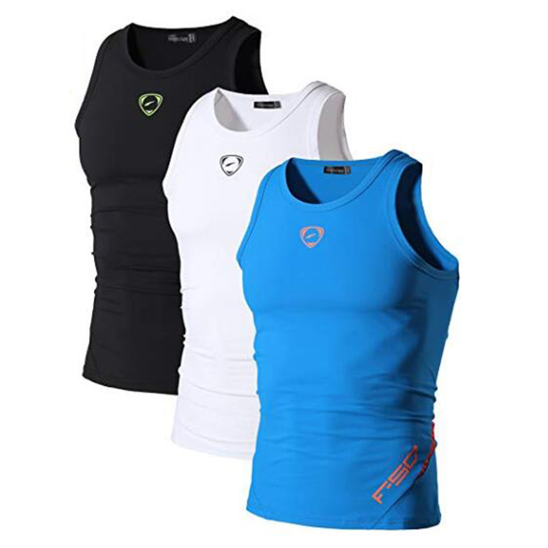 Jeansian 3 Pack Sport Tank Tops Tanktops Sleeveless Shirts Running Grym Workout Fitness Slim Compression LSL3306