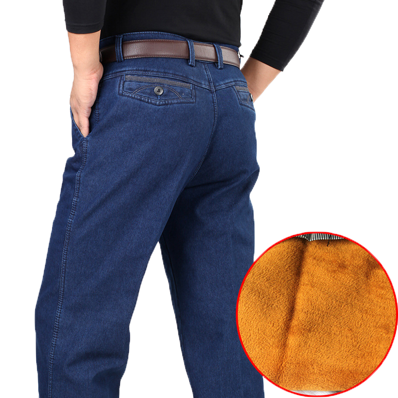 30-52 Winter Thick Fleece Denim Pants Casual High Waist Loose Long Pants Male Solid Straight Baggy   Jeans   For Men Classic HLX03