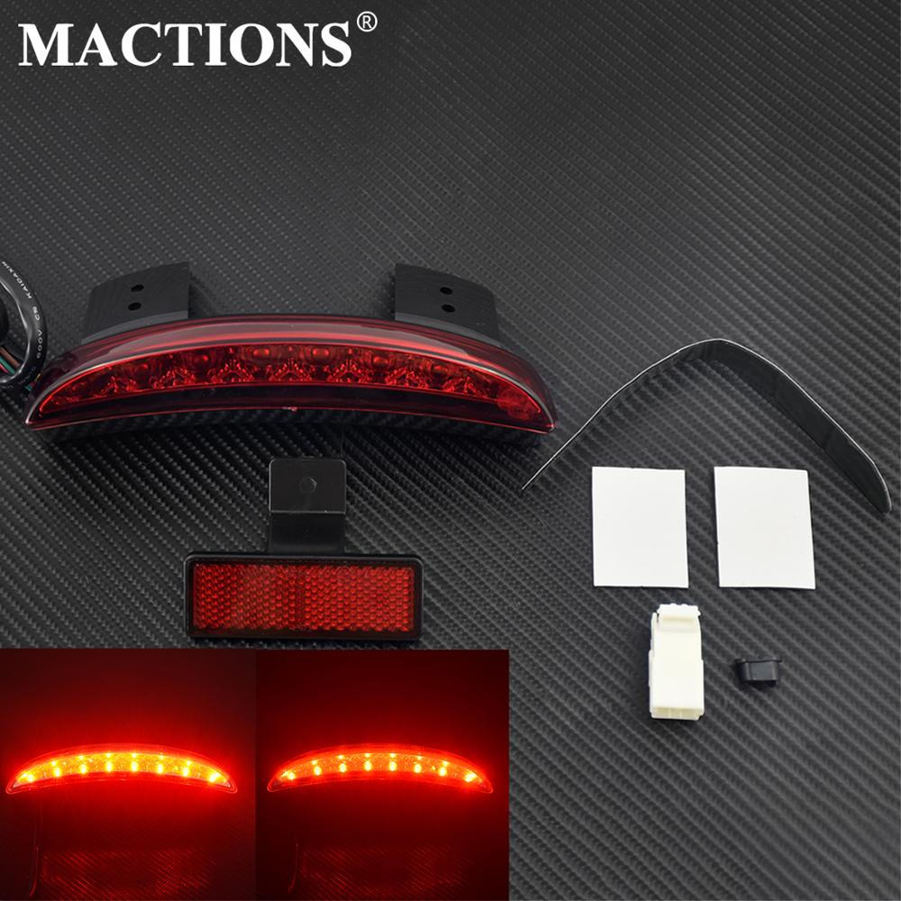 Motorcycle Chopper Rear Fender LED Brake Tail Light Red Lens Fits For Harley Iron 883 XL883N XL1200N 2004-2013