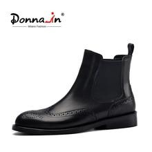 דונה בנשים שחור אמיתי עור מגפי מגולף קרסול מגפי נמוך עקבים גבירותיי פלטפורמת צ לסי מגפי סתיו 2020 גבירותיי נעליים