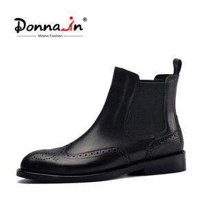 Image 1 - דונה בנשים שחור אמיתי עור מגפי מגולף קרסול מגפי נמוך עקבים גבירותיי פלטפורמת צ לסי מגפי סתיו 2020 גבירותיי נעליים