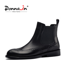 Donna in Women Black Genuine Leather Boots Carved Ankle Boots Low Heels Ladies Platform Chelsea Boots Autumn 2020 Ladies Shoes