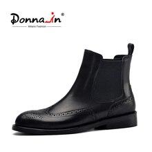 Donna in kobiety czarne prawdziwa skóry buty rzeźbione botki niskie obcasy damskie platformy Chelsea Boots jesień 2020 obuwie damskie