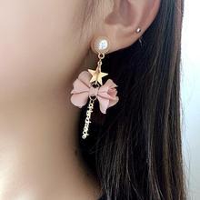 цена на Fashion Women Earrings Asymmetric Star Flower Faux Pearl Circle Tassel Pendant Women Stud Earrings Woman's accesories