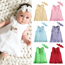 New Summer Girls Dress Sleeveless Casual Dresses Fashion Kids Clothes with Headbands baby dress