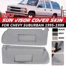 2Pcs Car Left Right Side Front Sun Visor Cover Skin Replacement For Chevy Suburban 1995 1996 1997 1998 1999 Black/Beige/Gray