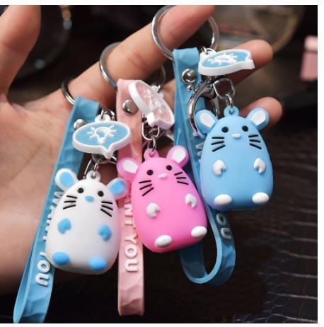 2019 A alta qualidade Rato Pequeno Bonito Keychain Animal do zodíaco Chinês brinquedos Chave das Mulheres Chaveiro Bag Pingente para crianças anel