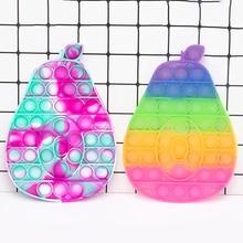 Push Bubble Sensory Fidget Toy Box Squishy Simple  Avocado Pattern Sensory Stress Reliver Toys Adult Autism Need Adult Children