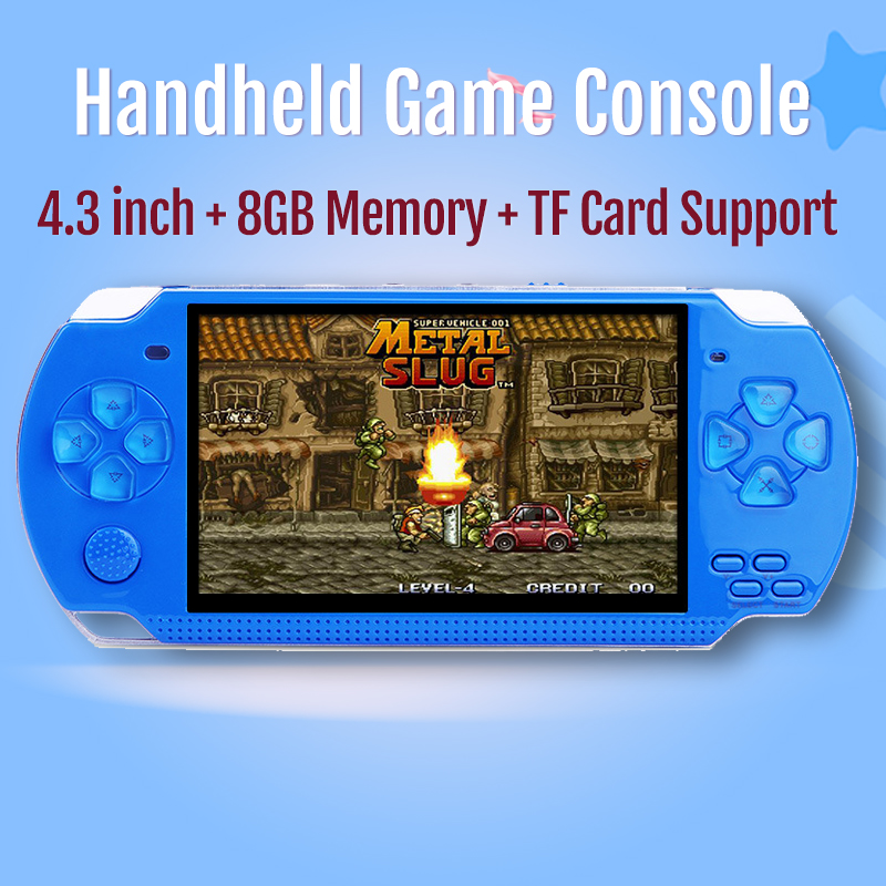 2019 New Handheld Game Console 4.3 inch 8GB Built-in 10000 Retro Games For PSP/MP4 Video/MP5/Camera/E-book Portable Game Console image