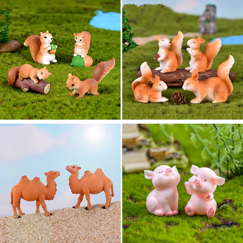 4 Pcs Squirrel Horse Penguin Camel Figurines Miniatures Fairy Garden Gnome Moss Gift Resin Crafts Home Decoration Gnome