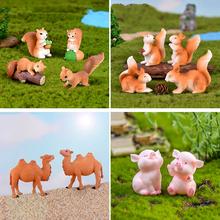 4 sztuk wiewiórka koń pingwin wielbłąd figurki baśniowe miniaturki do ogrodu Gnome Moss prezent rzemiosło żywiczne Home Decoration Gnome tanie tanio Żywica Zwierząt Amerykański styl