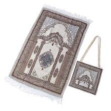 105*65センチメートルイスラム教徒祈りの敷物ポリエステルポータブル編組マット印刷マット毛布ポケット折りたたみ毛布イスラム教徒祈りの敷物マットislami