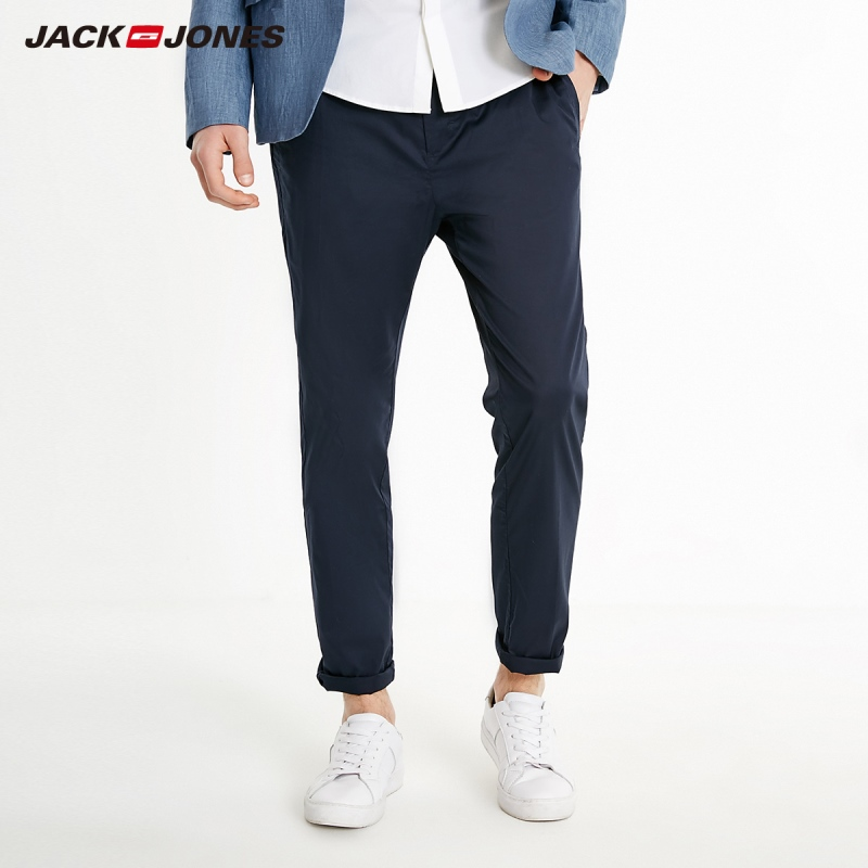 JackJones Men's Slim Fit Pure Color Lycra Stretch Crop Pants Basic| 219114549