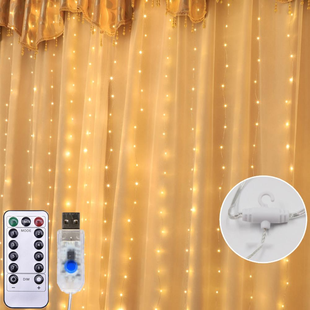 300LED String Light Fairy Garland Curtain Lamp USB Remote Control Copper Wire Light Room Holiday Wedding Wall Decor With Hook