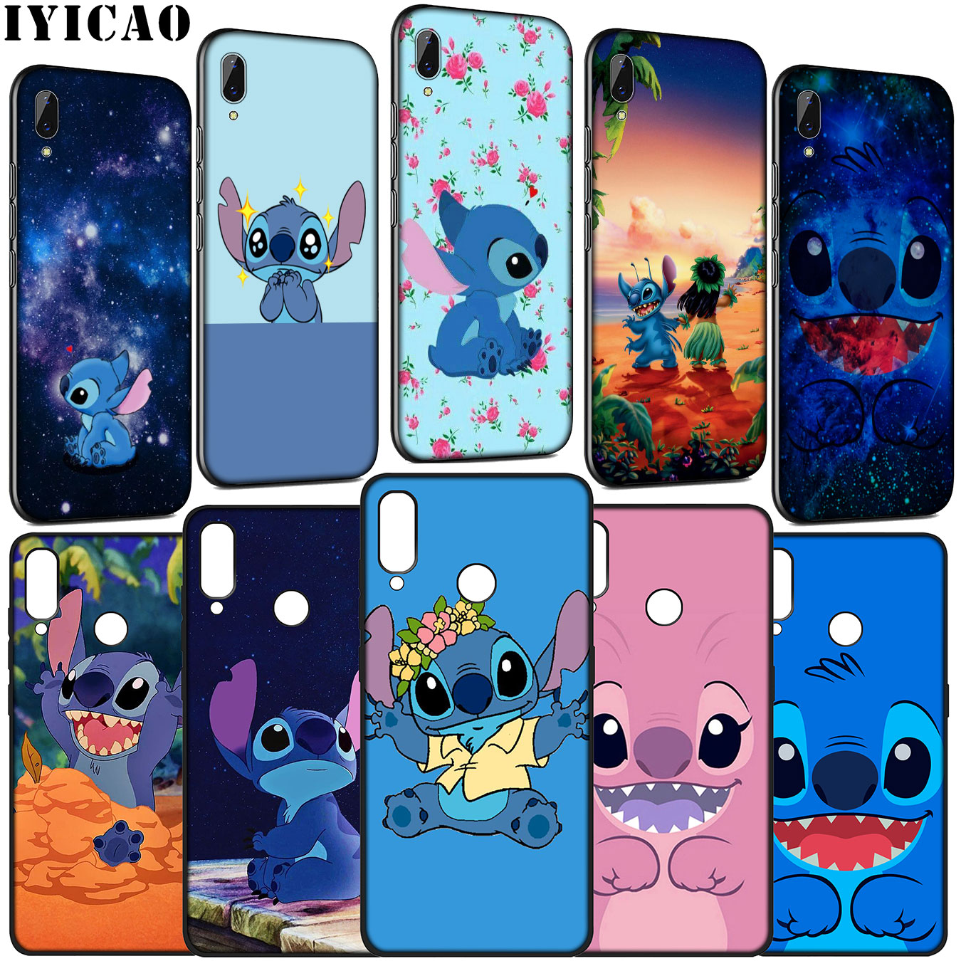 IYICAO Lilo Stitch <font><b>Anime</b></font> Cartoon <font><b>Soft</b></font> Silicone <font><b>Case</b></font> for Huawei Y9 Y7 Y6 Prime 2019 <font><b>Honor</b></font> 20 10 9 9X 8C 8X <font><b>8</b></font> Lite 7C 7X 7A Pro image