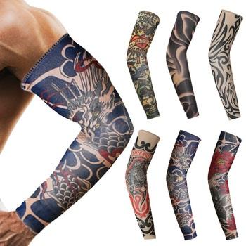 1Pc Arm Warmer Unisex szybkie suche ochrona UV na zewnątrz tymczasowe fałszywe Running Arm rękaw skóry Proteive Nylon rękawy tatuaże tanie i dobre opinie CN (pochodzenie) 9*38cm SPT6834 Poliester
