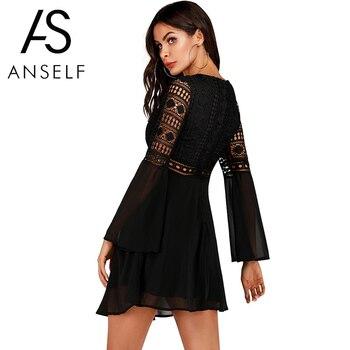 Женское платье с v-образным вырезом Anself, шифоновое мини-платье с длинным рукавом, элегантное белое повседневное кружевное платье в стиле бохо 2