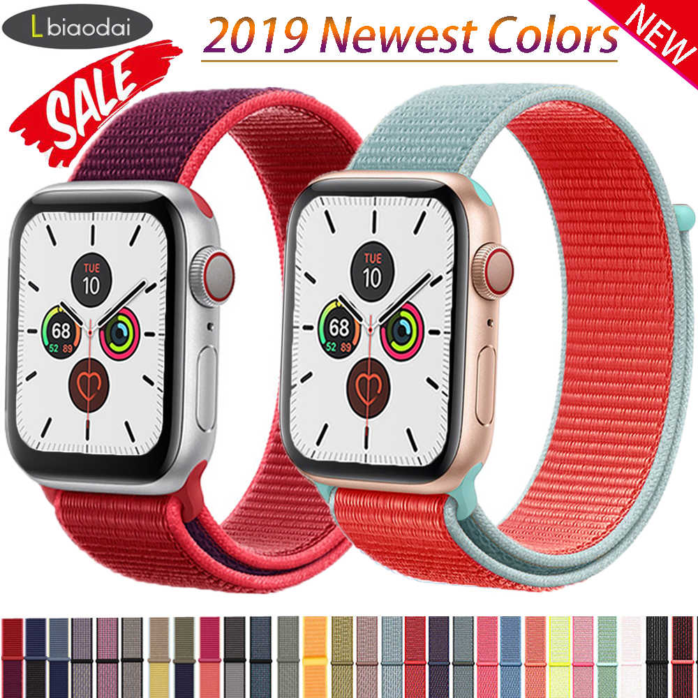 Tali Nilon untuk Apple Watch Band Apple Watch 5 4 3 2 44 Mm 40 Mm IWatch Band 42 Mm 38 Mm Correa olahraga Loop Sabuk Gelang Aksesoris