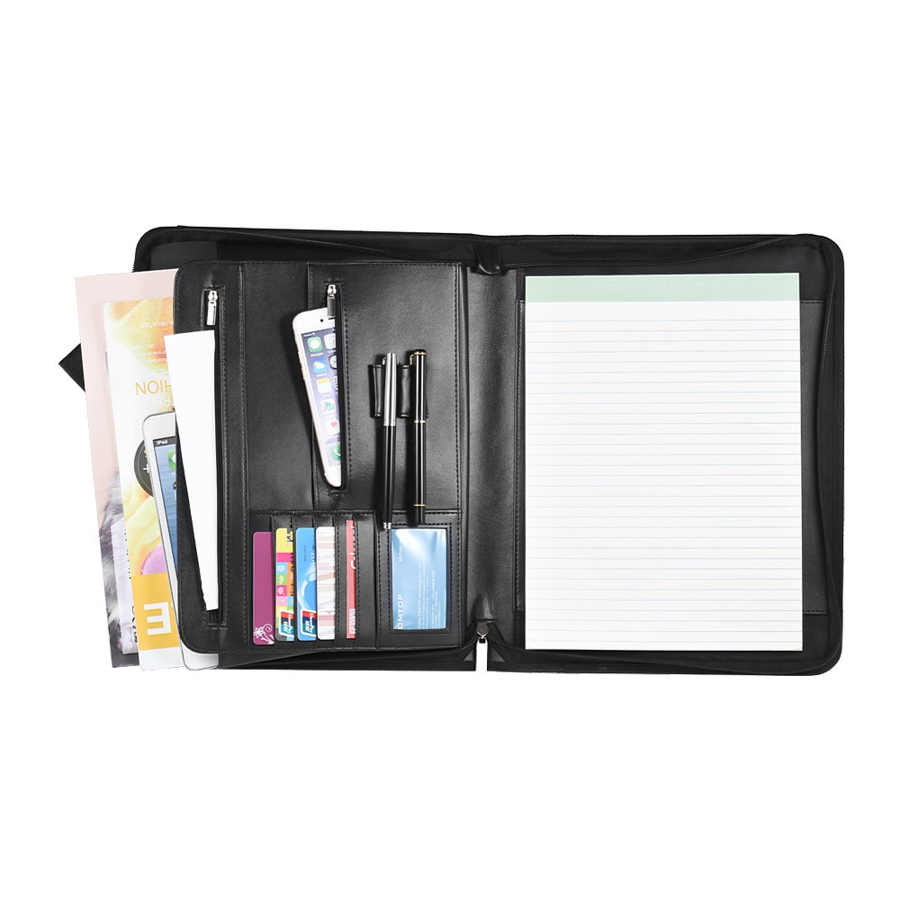 Zippered Multifunctional A4 Portfolio Professional Padfolio File Organizer with Writing Pad Card Pockets(China)