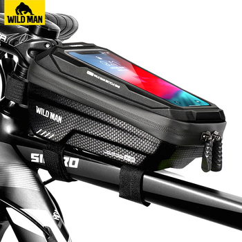 WILD MAN Rainproof Bicycle Bag Bike Frame Touch Screen Phone Case Cycling Bags Top Tube Accessories