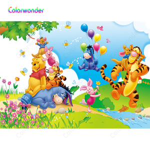 Image 2 - Winnie Pooh Theme Party Photography Backdrops Cartoon Spring River Bank Colorful Balloons Background For Children Birthday Decor