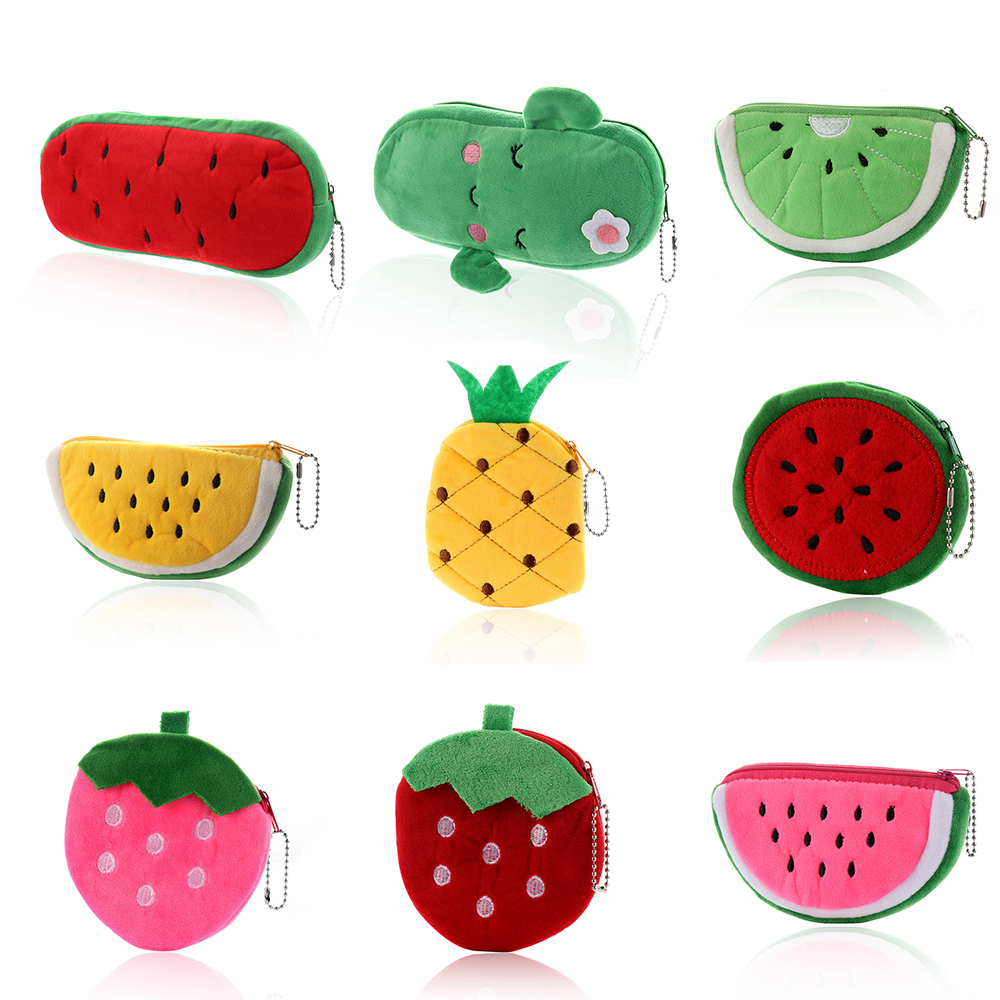 1Pc Cute Plush Coin Purses For Women Girls Fruits Series Watermelon Strawberry Cactus Coin Pouch Wallet Student Pencil Case Gift