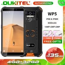 Oukitel Teléfono inteligente WP5, impermeable IP68, pantalla de 5,5 pulgadas, 8000mAh, 4GB de RAM, 32GB de ROM, cuatro núcleos, cámaras triples, SO Android 9.0, 5V/2A