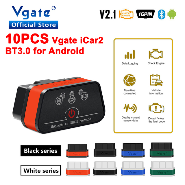 Vgate iCar2 ELM327 Adaptador de diagnóstico OBD OBD2 para coche, herramienta automática de escáner Android, Bluetooth, Elm 327, 10 Uds., envío gratis