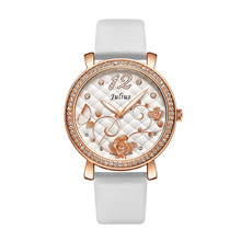 Julius Lady Women's Watch Japan Quartz Hours Fine Rose Flower Fashion Dress Bracelet Leather Girl's Birthday Christmas Gift Box цена