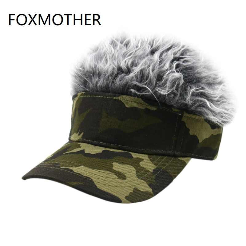 FOXMOTHER Men Women Camouflage Fake Flair Hair Baseball Cap Camo Sun Visor Fun Halloween Party Toupee Hat Golf Caps Gorra Hombre