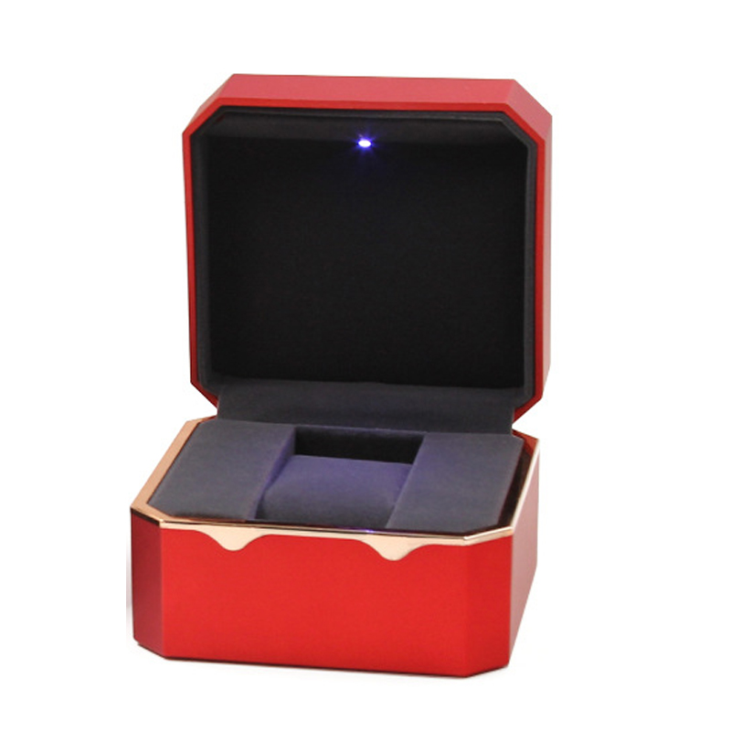 Cherry Light LED Watch Jewelry Box Deluxe for Engagement, Proposal or Special Occasions with Black Insert