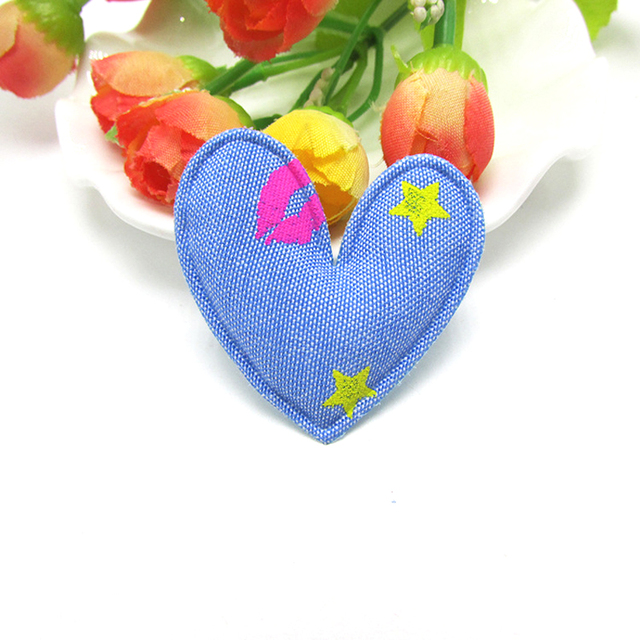 30pcs/lot  4.5cm Denim Fabric patchs, Sweet heart padded appliques for Childrens headwear,garments  accessories, DIY Suppliers