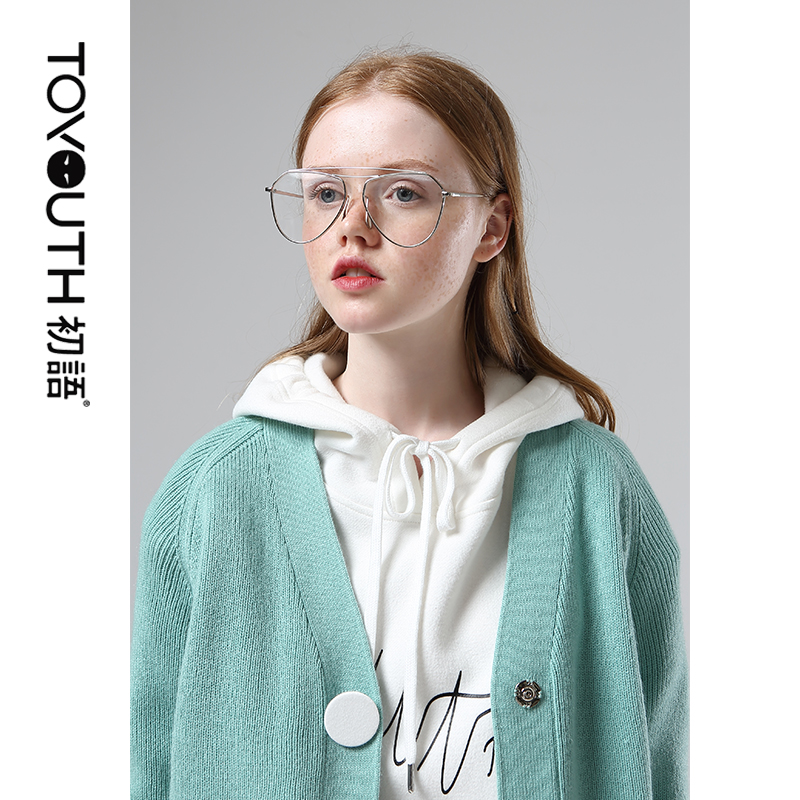 Toyouth Hit Color Buttons V-Neck Long Sleeve Sweaters Women Casual Outwear Cardigan Knitted Sweater