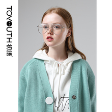 Toyouth Hit Color Buttons V Neck Long Sleeve Sweaters Women Casual Outwear Cardigan Knitted Sweater