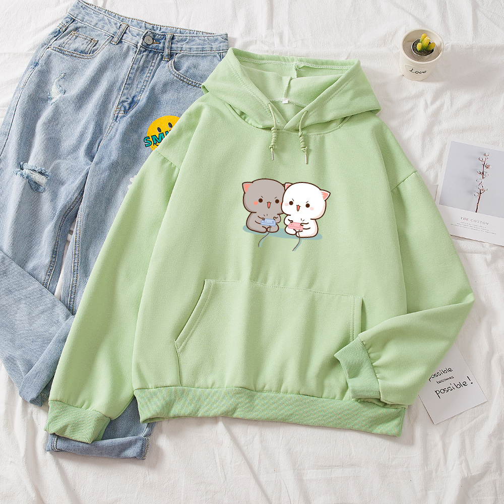 Cute Cat Printed Hoodies Women Autumn Loose Sweatshirt Female Itself Harajuku Kawaii Hooded Pullover Thicken Couple Coat 10