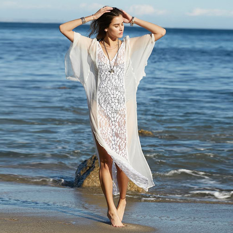 Casual Maxi Lace Dress Style Fashion Sexy Women 2020 V Neck Beach Female Long New Dresses Sun Proof Loose Size Summer Clothing