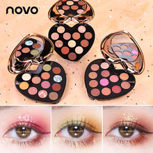 NOVO Heart Shape 12 Colors Glitter Eye Shadow Palette Pigmented Nude Matte Shimm