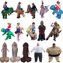 Fantasy Men Adult Unicorn Inflatable Dinosaur Costume Willy Ghost Sumo Anime Cosplay Halloween Dinosaur Costume For Kid Women(China)